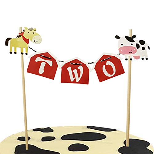 Barn Farm Animals 2nd Birthday Cake Topper Cow Farmhouse Second Party Supplies Decorations