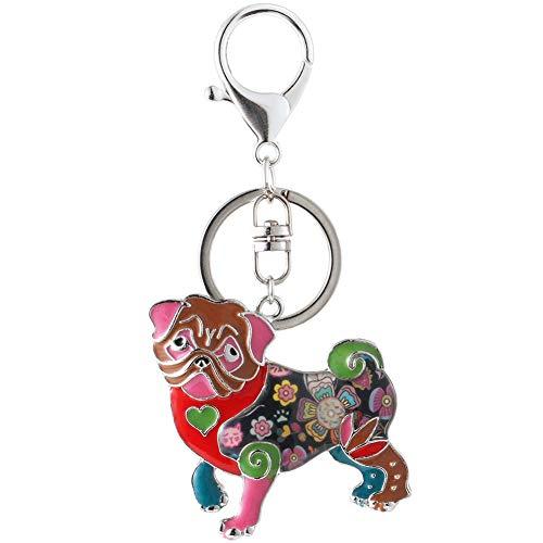 da129ef38a7 Marte Joven Multicolor Pug Keychains for Women Unique Enamel Puppy Dog  Lover Keyrings
