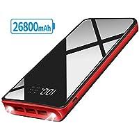 XINSL Powerbank Externer Akku 26800mAh Hohe Kapazität Tragbares Ladegerät mit 2 LED Leuchten und 3 Ausgängenports leichte universelles Ladegerät Kompatibel mit IOS und Android Handy Tablet