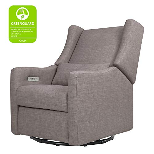 41jo1zWB3XL - Babyletto Kiwi Electronic Power Recliner And Swivel Glider With USB Port In Grey Tweed, Greenguard Gold Certified