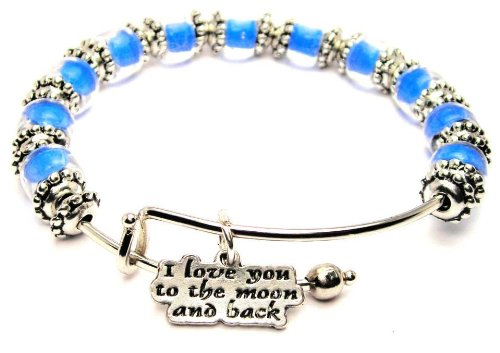 [I Love You to the Moon and Back Cobalt Blue Glass Beaded Bangle Adjustable Bracelet] (Famous People With Glasses)