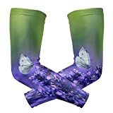 Perfectly Customized Arm Sleeves Butterfly Lavender Beauty Mens Sun UV Protection Sleeves Arm Warmers Cool Long Set Covers