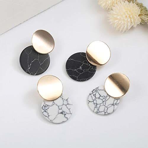 Handmade Simple Geometric Circular Marble Long Earrings Popular Earrings Temperament Jewelry, For Women Girls Geometric Circle Hoop Drop Dangle Earrings Fashion Jewelry (95w)