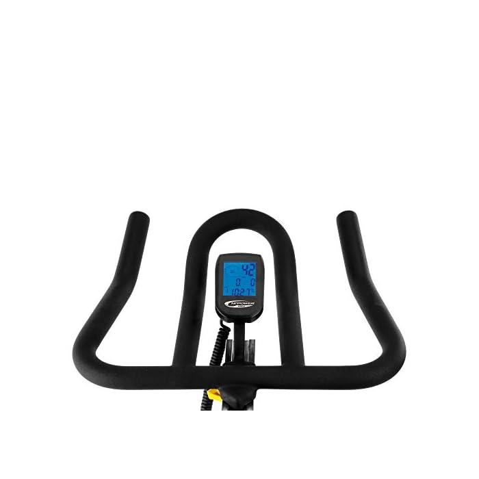 41jo2qcfmdL Volante inercia de 20kg para un pedaleo estable. Freno magnético con selector de 16 niveles y freno de emergencia Monitor LCD multifunción retroiluminado. Muestra RPM, tiempo, calorías, distancia, vatios y pulso.