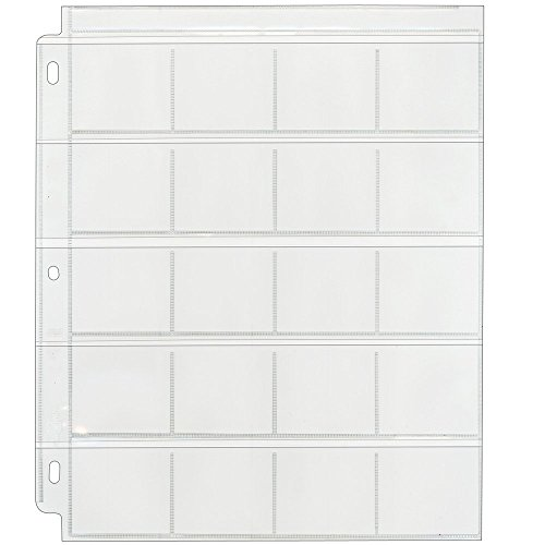 Clear File - Coin & Slide Page for 3-Ring Binders - Poly Archival-Safe Plastic - 100-Pack - 210100B - (Archival Slide Storage Pages)