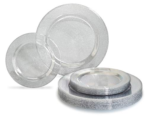 OCCASIONS 240 PACK Heavyweight Wedding Party Disposable Plastic Plates Set - 120 x 10.25'' Dinner + 120 x 7.5'' Salad/Dessert Plate (Seasons Clear w/Silver Glitter)