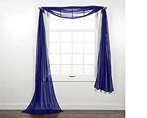 Curtain Online 39 S 1pc Voile Sheer Window Scarf Swag Tier Topper Valance In 37x216 In
