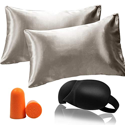 YoUoY Satin Pillowcase Good for Hair Cool and Easy to WASH No Zipper, Such as Silk Pillowcase Effect, Standard Queen King Size 2PACK (Grey-2PC, Queen -20x30)