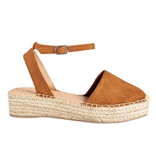 FISACE Womens Summer Espadrille Ankle Strap Flat Sandals Peep Toe Flip-Flop Shoes (11 M US, ZZZZ-Brown)