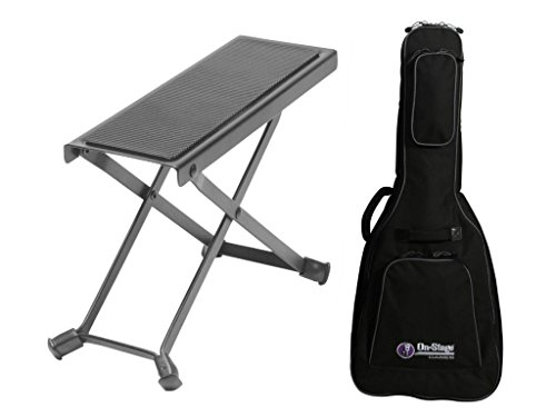Combo offer On Stage Guitar Foot Rest with Deluxe Acoustic Guitar Gig Bag by OnStage