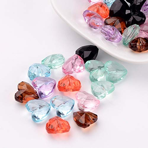 Craftdady 50pcs Mixed Color Hear Shape Transparent Acrylic Faceted Crystal Beads Loose Spacer Beads for DIY Jewelry Making 12x12.5x8mm ()