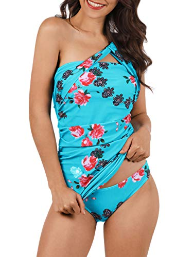 b2714a3bd6 Women's One Shoulder Swimsuit Two Piece Ruched Tankini Floral Tummy Control  Bikini Set