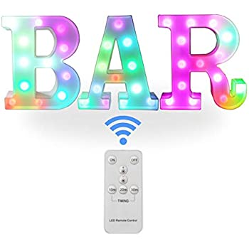 Remote Color Changing BAR Sign Decorative Led Illuminated Lights Marquee BAR Signs - Colorful Letters Lamps - Lighted Bar Decor