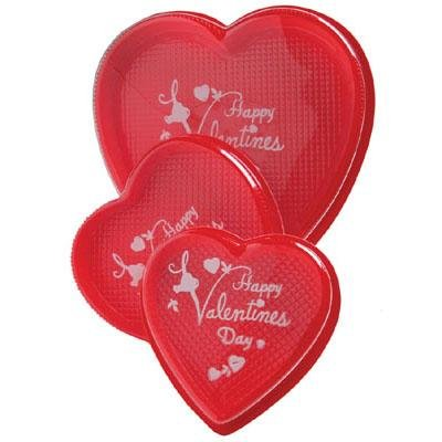 Valentines Day Candy Box - Red Heart Shaped Box with Happy Valentines Day Printed Clear Lid - DIY Pack of 5