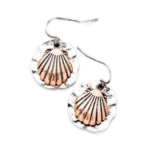 Two Tone Metal Seashell Dangle Earrings