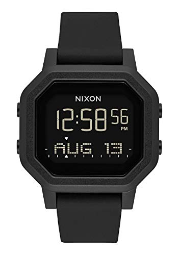 (NIXON Siren A1210 - All Black - 100m Water Resistant Women's Digital Sport Watch (38mm Watch Face, 18mm-16mm Pu/Rubber/Silicone Band) )