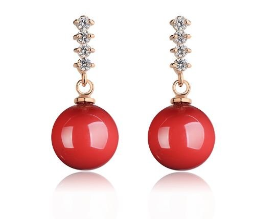 Express$ Natural Red Coral Earrings Brincos Jewerly Gold 18k Earring Rhinestone Big Drop Earrings Ruby Earrings For Women (18k Coral Earrings)