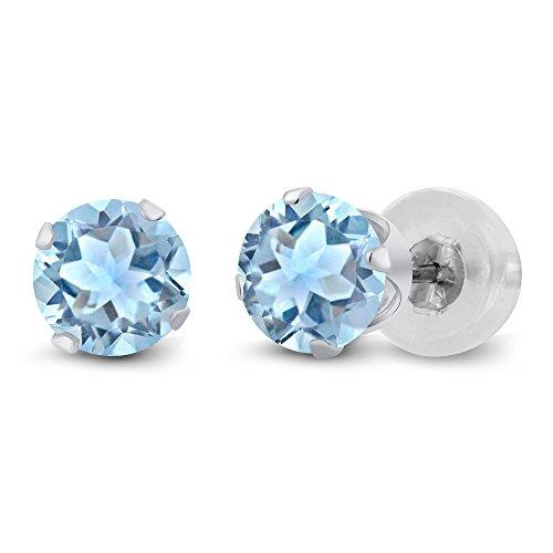 Gem Stone King 1.20 Ct Sky Blue Topaz 10K White Gold Stud Gemstone Birthstone Earrings - Stud Gold Gemstone White