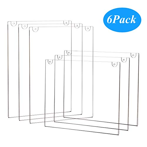 (6-Pack Wall Mount Acrylic Sign Holder 8.5 X 11 Clear Plastic Display Frames for Document Paper, Picture, Posters, Certificate Photo &)