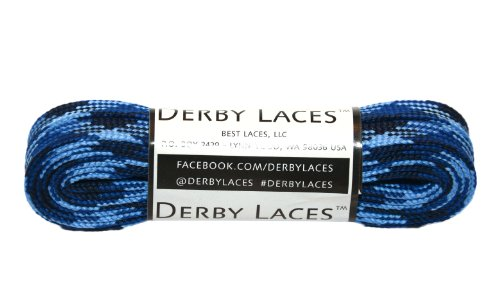 Blue Camouflage 72 Inch Waxed Skate Lace – Derby Laces for Roller Derby, Hockey and Ice Skates, and Boots – DiZiSports Store