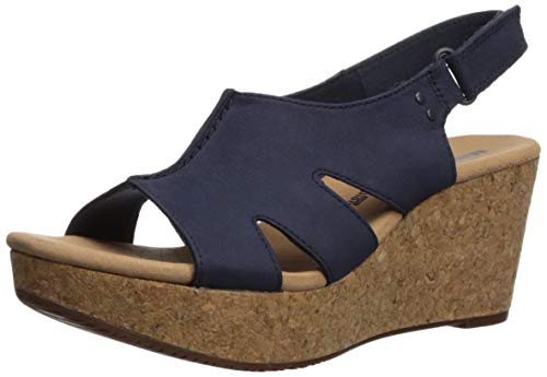 Blue Wedge Shoes - Clarks Women's Annadel Bari Platform, navy nubuck, 7.5 Medium US