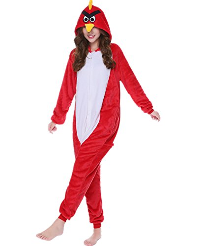 kxry Adult Pajamas Onesie Lounge Wear Halloween Gift Cosplay Costume (Large, Angry Birds) -