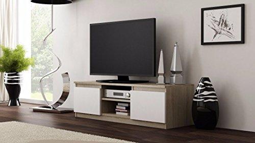 TV Schrank Lowboard Sideboard CLIO (Sonoma / Weiß Matt)