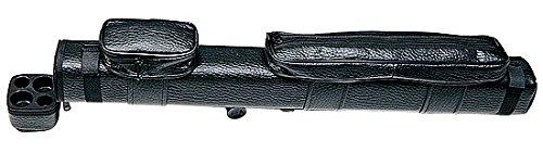 Funda rigida de piel negra con bolsillos para tacos de billar