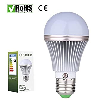 E27 5W LED Dusk To Dawn Sensor Light Bulbs Aluminum Built In Photosensor De