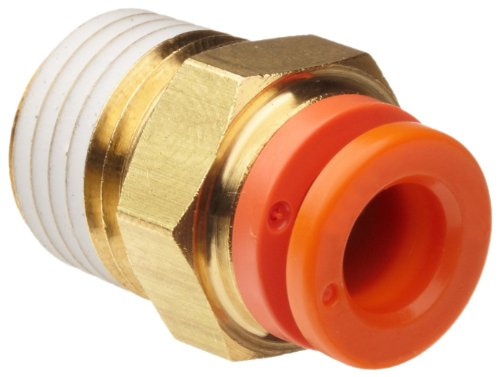 SMC KQ2H07-35AS Brass Push-to-Connect Tube Fitting with Sealant, Adapter, 1/4