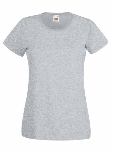 Fruit Of The Loom- Camiseta de manga corta Valueweight para mujer gris - gris