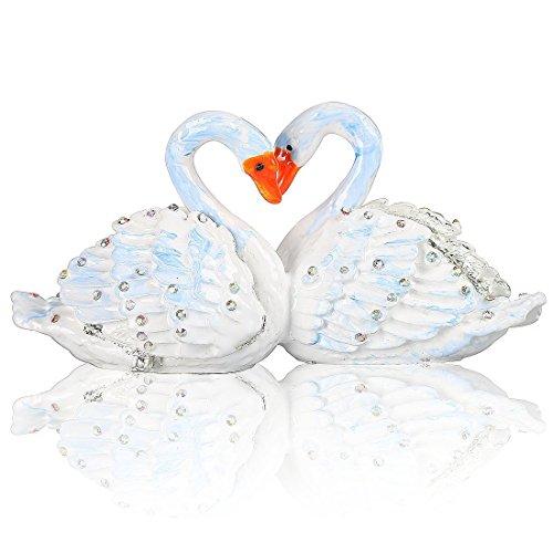 Couple Swans Jeweled Trinket Box Hinged Heart Keepsake Box Handcrafted Crystal Gift Box