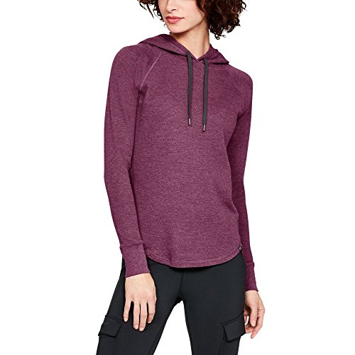 (Under Armour Women's Waffle Hoodie, Charged Cherry Full (636)/Charcoal, XX-Large)