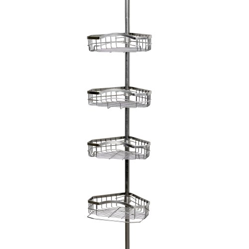(Zenna Home 2125BN Tension Corner Pole Caddy, Brushed Nickel)