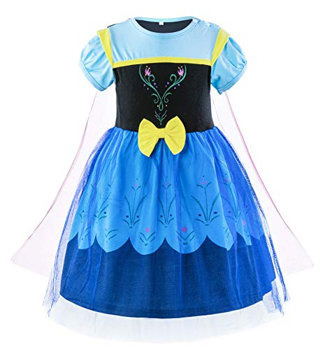 Padete Baby Girl Princess Anna Alice Elsa Little Mermaid Snow White Dress Costume (18-24 Months, Anna)