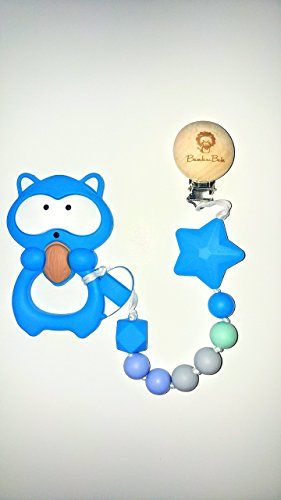 Silicone Teething Toy| Baby Teether 3 Months | Teether Animal | Teether Beads| Baby Gift | Non-Toxic & BPA-Free | Food Grade Silicone | by Bambini Babe (Blue Raccoon)
