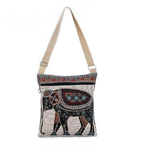 Da.Wa Bohemian Elephant Embroidered Pattern Shoulder Bag Ethnic Style Crossbody Bag Color-2