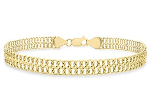 """Chaîne gourmette Double or jaune 9ct Bracelet 19cm/7,5"""""""