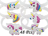 Monqiqi Pack of 48 Glow in the Dark Unicorn Bracelets Party Wristbands for Birthday Party Favor Supplies