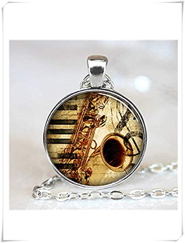 yi sheng Musical Instrument Necklace, Music Lovers Jewelry, Silver Saxophone Pendant,