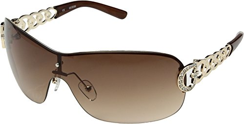 GUESS Women's Metal/Semi Rimless Shield Sunglasses, Gld-34, 0 - Rimless Guess Glasses