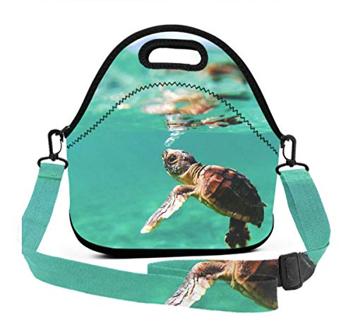 Kids Insulated Neoprene Lunch Bag Turtle Under Sea Ocean Tote Handbag Lunchbox Food Container Cooler/Warm Pouch for School Work Office - Great Gift for Boys, Girls