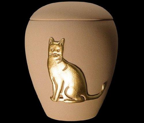 Kronos - Urne cinéraire couleur sable en céramique à motif de chat - Dim : Cm 8, 5 x h Cm 11, 5; Vol. lt 0, 5