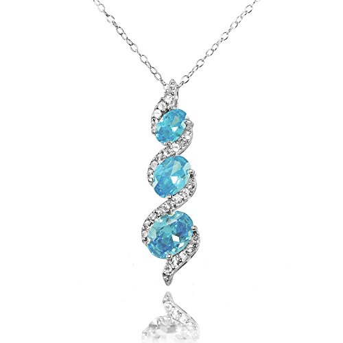 Ice Gems Sterling Silver Simulated Aquamarine and Cubic Zirconia Oval S Design Three-Stone Journey Necklace