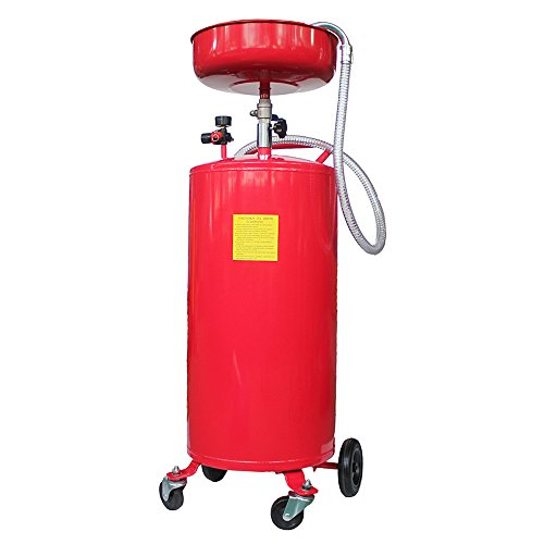 Roadstar 20 Gallon Portable Waste Oil Drain Tank Air Operated Fluid Fuel Transfer Drainage with Wheel Steel