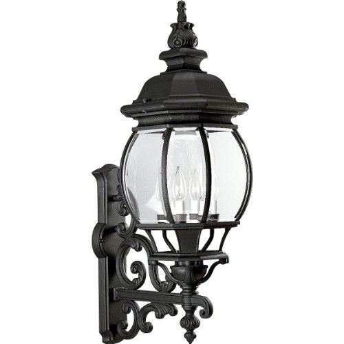 Progress Lighting P5701-31 4-Light Wall Lantern with Clear Beveled Glass, Textured Black