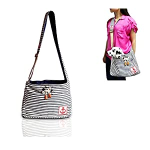 DogLemi@ Navy Stripe Dog/Cat Carrier Bag – Stylish, Durable, Hands-Free Design – Great Travel Carrier Bag for Puppies or… Click on image for further info.