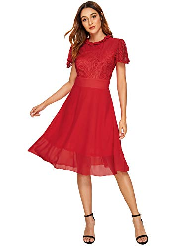 Milumia Women's Vintage Floral Lace Short Sleeve Ruched Neck Cocktail Party Flowy Swing Dress Red ()
