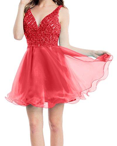 Rot Mini Abendkleider A Organza Kurzes Charmant Neu Tanzenkleider Cocktailkleider Mini Damen Partykleider linie w7fH6wnxB1