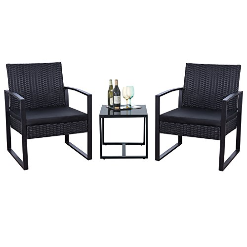 Flamaker 3 Pieces Patio Set Outdoor Wicker Patio Furniture Sets Modern Bistro Set Rattan Chair Conversation Sets with Coffee Table ()